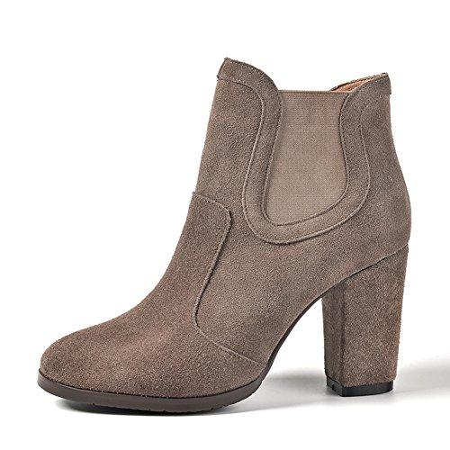 Stivali in pelle spessa/ primavera e autunno/inverno stivaletti/Alta Chelsea boots/Stivali da pioggia/ scarpe casual-A Lunghezza piede=23.8CM(9.4Inch)