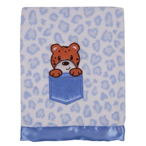 Tadpoles Animal Print Baby Blanket, Blue Leopard - 1