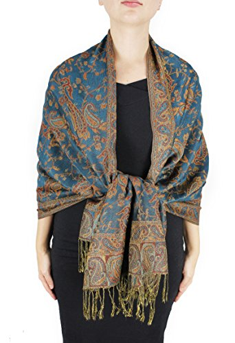 peach-couture-womens-71-cm-x-198-cm-elegant-reversible-floral-paisley-pashmina-feel-shawl-wrap-green