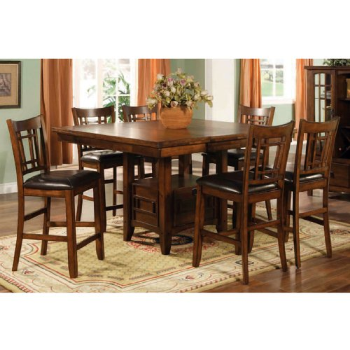 Buy Low Price Lifestyle California Eureka Counter Height Square Dining Table with Storage in Distressed Dark Pecan (16-787N)