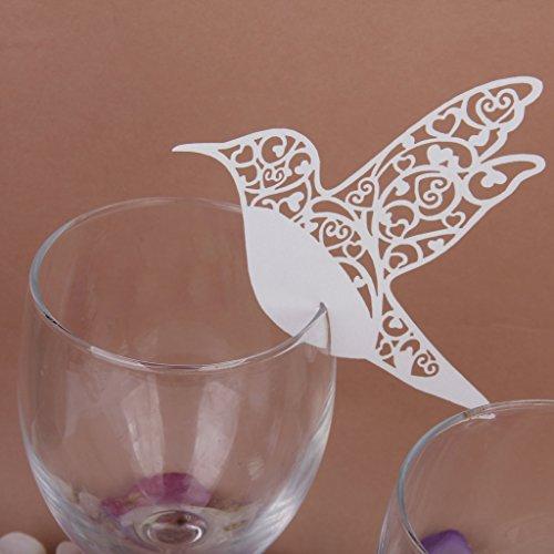 Phenovo Lot de 50pcs Carte de Verre Marque Place Oiseau Ajouré Décoration de Table pour Cérémonie de Mariage