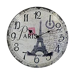 Hippih Silent Round Wall Clocks (12 Inches) Living Room Decorative Vintage / Country / French Style Wooden Clock(Round Eiffel)