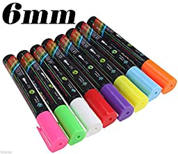 6mm Highlighter Fluorescent Liquid Chalk Marker Pen 8 Colors/set for LED Writing Neon Menu Flashing Board by Autolizer TM