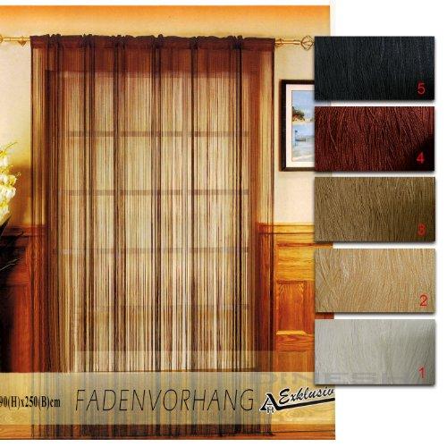 clic123 (314) Fadenvorhang 90 x 250 cm Türvorhang Gardine Vorhang Faden Store vers Farben (Kaffee)