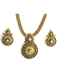SHINGAR JEWELLERY ANTIQUE GOLD LOOK NECKLACE SET FOR WOMEN - B00Q2JFDO6
