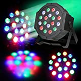 DJ lights, KINGSO 24W LED Flat Par Light RGB DMX-512 Sound Actived Magic Effect Led Stage Lights for KTV Xmas Party Wedding Show Club Pub House Disco DJ Black House Case 1 pack