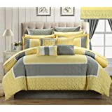 Chic Home 24-Piece Aida Quilted Embroidered Room in a Bag Comforter Set, Queen, Yellow