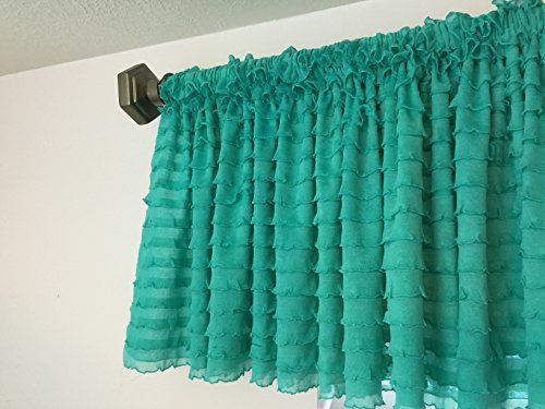 Ruffle Valance Curtain Shabby Chic and Frilly Window Treatment for Baby Nursery, Small Kitchen, Unique Living Room, Girls Bedroom, Mint (Window Treatment Ideas)