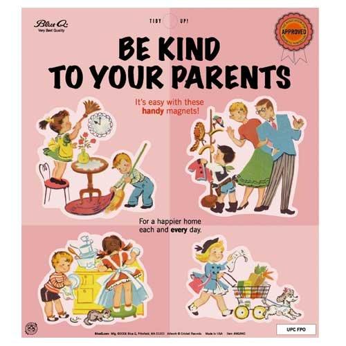 Blue Q Be Kind To Your Parents Magnet Set