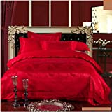 4pcs jacquard mulberry silk bedding set satin bed linen/bedclothes (King, Style12)
