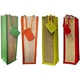 Virtual Concepts Natural Jute Wine Bag, Set Of 4, Multicolor