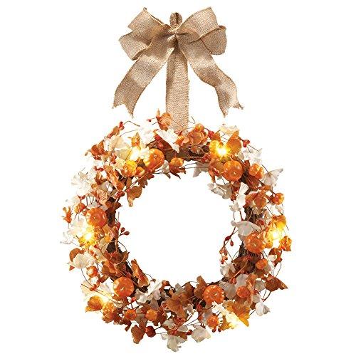 LED Lighted Pumpkin Wreath with Burlap Bow