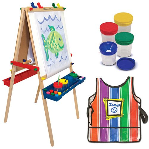 Melissa-Doug-Deluxe-Standing-Easel-with-Artists-Smock-and-Spill-Proof-Paint-Cups