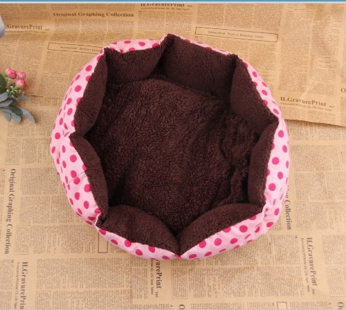 Andget (Tm) Pet Bed Warm Soft Pink With Red Dot 40X30X11Cm