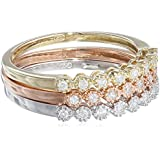 10k Multi-Colored Gold Diamond Stack Ring (1/4 cttw, H-I Color, I3 Clarity), Set of 3