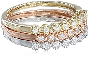 10k Multi-Colored Gold Diamond Stack Ring (1/4 cttw, H-I Color, I2-I3 Clarity), Set of 3, Size 6