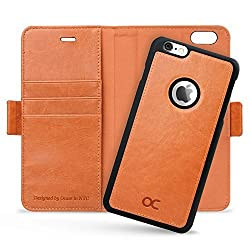 OCASE iPhone 6 Plus Case iPhone 6S Plus Case [Magnetic Detachable Case] Wallet Leather Case [Free Screen Protector Included] For iPhone 6 Plus / 6S Plus Devices - Light Brown
