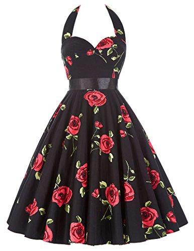 Women Homecoming Party Dresses Sleeveless 50s Retro Rose Dress 75-28, S