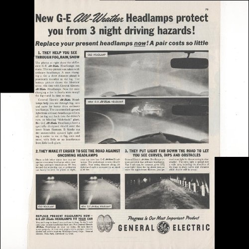 General Electric All Weather Headlamps Car 1955 Vintage Antique Advertisement