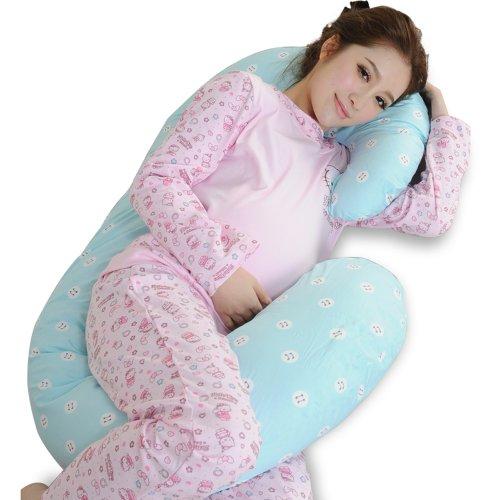 Leyun Cotton Large C-Type Pregnant Women Pillow Blue front-251757