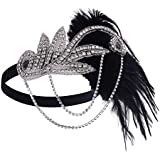 Black : BABEYOND Women's Flapper Feather Headband 1920s Headpiece Vintage Hair Accessories Crystal Headband (Black)
