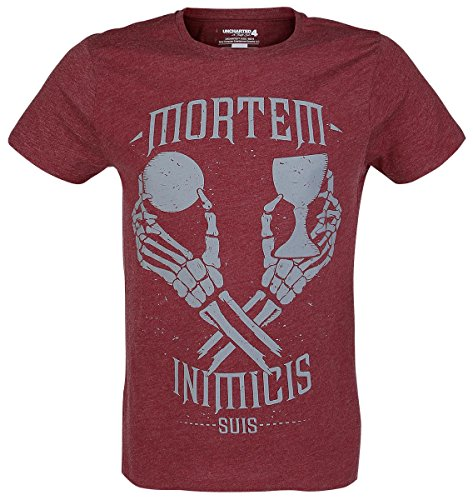 Uncharted 4 - Mortem Inimicis Suis T-Shirt rosso screziato XL