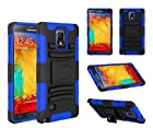 Galaxy Note 4 Case - Galaxy Wireless Samsung Note 4 Rugged Heavy Duty Case - Rugged Holster Case with Kickstand for Samsung Galaxy Note 4 (Blue / Black Skin)