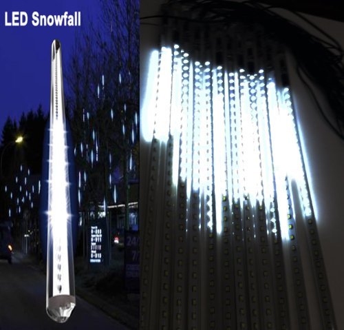 20 Inches Linkable White Led Snowfall Lights Double Sided Waterproof Transformer 16Ft Wire Extension Set Of 12