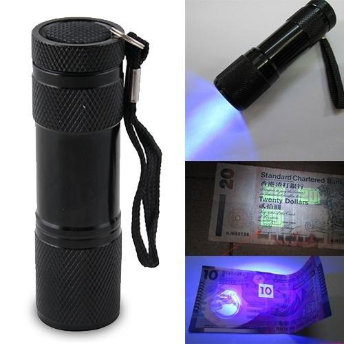 Blacklight Invisible Ink Marker 9Led Uv Ultra Violet Flashlight Torch Light