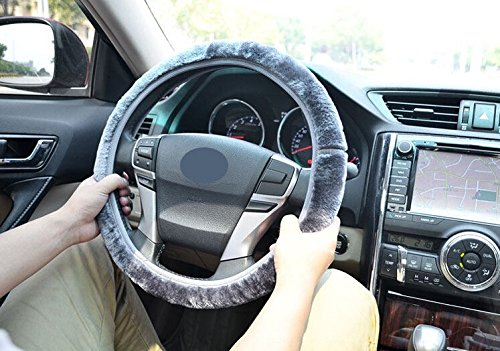 Gray Fashion Universal Fit Winter Car Steering Wheel Cover in Soft Cashmere Imitation Steering Wheel Cover Medium Size Odorless 4 Colors For Nissan Tiida (Tiida Steering Wheel Cover compare prices)
