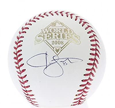 Jason Bartlett Autographed Tampa Bay Rays 2008 World Series Baseball with Grandstand Cube Display Case Included - Certified Authentic