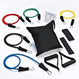 Sivan Health and Fitness Latex Resistance 5 Band Set -Includes 5 Bands, Ankle Strap, Door Anchor, Exercise Chart, and Carrying Case, Great for Muscle Strengthening, P90x Exercise, Upper Body Strengthening, Pilates, Yoga, Physical Therapy, Brazil Butt Lift, Perfect for Any Home Gym As This Will Strengthen Your Arms, Shoulders, Legs, and Ankles, Comes with 5 Different Resistance Levels of Extra Ligh