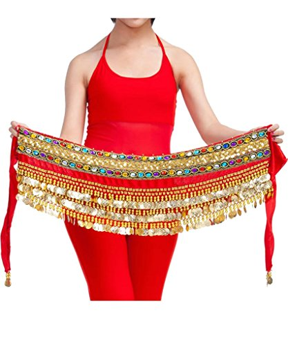 Ru Sweet Belly Dance Hip Scarf Gold Coins Belly Dance Skirt, Valentine's Idea