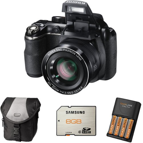 Fujifilm FinePix S4500 + Case + 8GB Memory +4 AA Batteries and Charger (14MP, 30x Optical Zoom) 3 inch LCD Screen