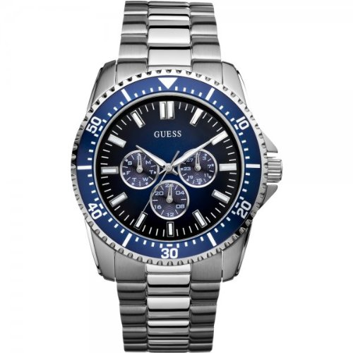 Guess Focus Men's Quartz Watch with Black Dial Analogue Display and Silver Stainless Steel Strap W10245G1