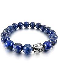 MunkiMix 10mm Alloy Energy Bracelet Link Wrist Energy Stone Blue Silver Buddha Mala Bead Men,Women