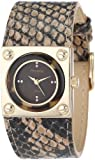 Armitron Women's 75/5079BMGPBN Brown Snake-Skin Pattern Gold-Tone Tortoise Bezel Strap Watch