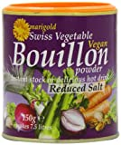 Marigold Swiss Vegetable Vegan Bouillon Powder Reduced Salt 150 g (Pack of 12)