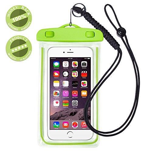 WALNEW スマートフォン防水ケースiPhone6s/iPhone6splus/iPhone5s/Samsung Galaxy/Nexus/Xperia全てのスマホ対応可能 夜行反射機能搭載 スマホケース防水 スマホ防水カバー 防水スマホケース 超堅固な救助用ネックストラップ付き 高水準防水ポーチ 防塵ケース,グリーン