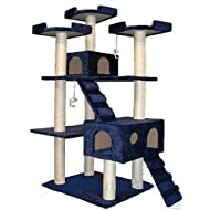 Go Pet Club Cat Tree 50W x 26L x 72H Blue