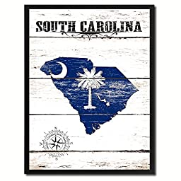 South Carolina State Flag Map Art Canvas Print Vintage Cottage Chic Kids Room Home Office Wall Decor Gift Ideas, 15\