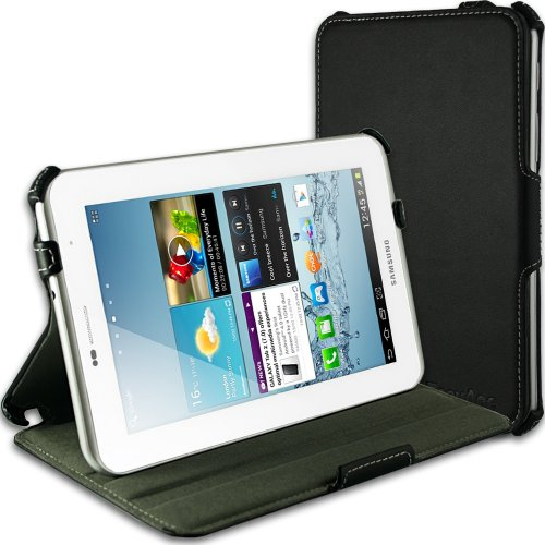 EasyAcc Black UltraSlim Leather Folio Case with Multi-View Stand for Samsung Galaxy Tab 2 7.0 P3100/P3110 Tablet PC
