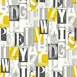 Alpha Black Yelow Wallpaper - Arthouse
