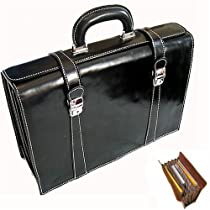 Floto Luggage Trastevere Brief Leather Briefcase, Black, Medium
