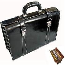 Floto Luggage Trastevere Brief Leather Briefcase, Black, Medium