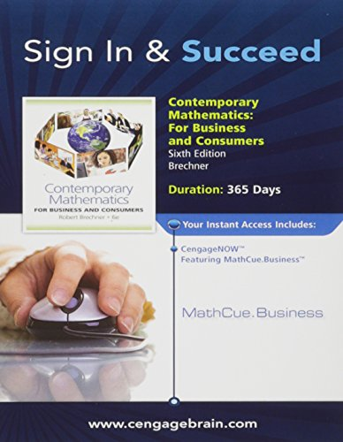 CengageNOW featuring MathCue Printed Access Card for Brechner's Contemporary Mathematics for Business and Consumers