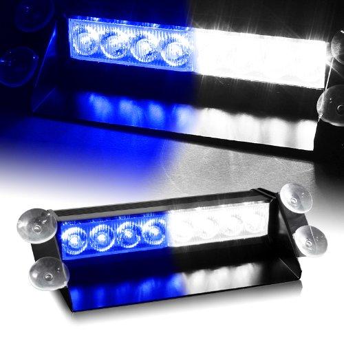 White & Blue Generation 3 Led Law Enforcement Use Strobe Lights For Interior Roof / Dash / Windshield