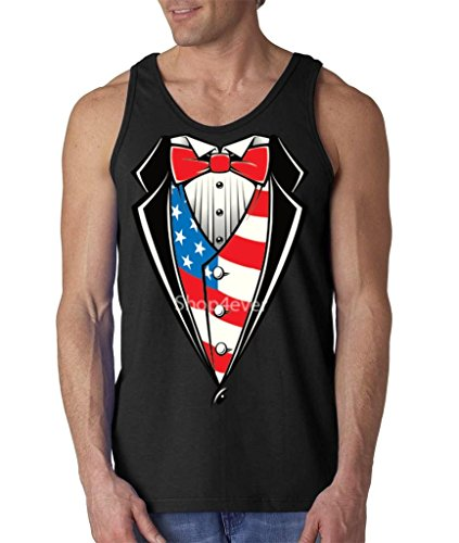 Tuxedo Costume USA Flag Men's Tank Top Funny Tux Tank Tops