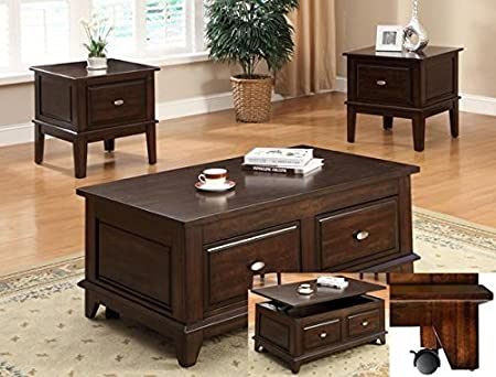 Brand New 3-pk Lift Top Coffee Table with Caster (1)and End Table (2) Cocktail set