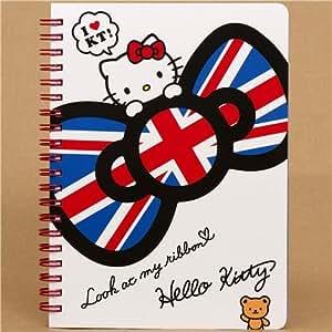 Libreta de espiral Hello Kitty con lazo bandera inglesa